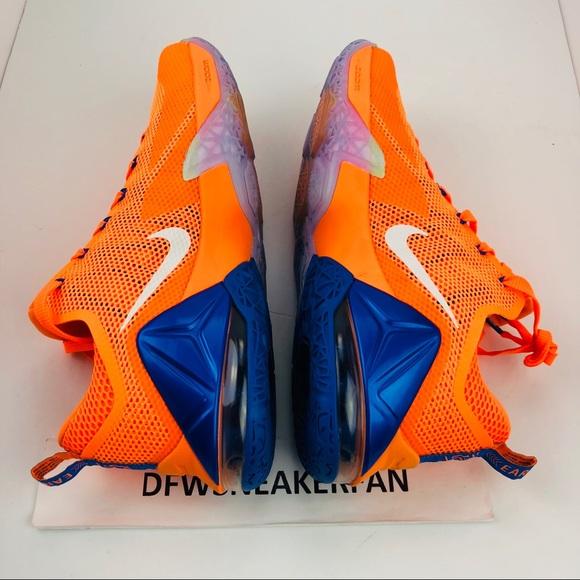 fc4b7edc7546 Nike Lebron James 12 Low Orange Blue SZ 11